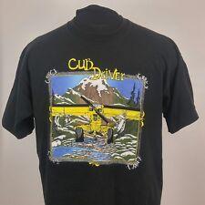 Vtg Cub Driver Plane Fruit of the Loom Sz Xl Graphic T-Shirt Single Stitch Black