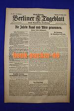 BERLINER TAGEBLATT (16.10.1917): Die Inseln Runö und Abro genommen