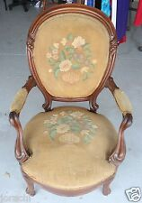 ANTIQUE NEEDLEPOINT ARM CHAIR, EARLY1900'S NEEDS REUPHOLSTERY, Great Bones!