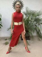 Side slit Asymmetrical Red Dress Woman US Small Body Central