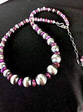 """Native American Graduated Purple Sugilite Sterling Silver Necklace 19"""" Rare"""
