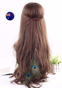 Women Girl Brown suede Peacock Feather Beach Hair head band Headband Prop Wrap