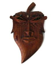 Hand Carved Wood Leaf Tribal Mask Decor Wall Sculpture Art