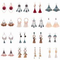 Bohemian Gold Silver Antique Ethnic Earrings Long Tassel Fringe Women Earrings