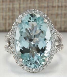 9.02 Carat Natural Aquamarine 14K Solid White Gold Diamond Ring