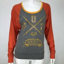 FOX Racing Womens XS Shirt Life Line Cutout Logo Gray Orange Motocross