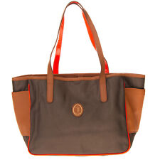 RRP €450 TRUSSARDI Tote Bag Leather Details Textured Panel Made in Italy