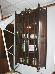 Antique Victorian Oak Stick and Ball Hanging Wall Mount Curio Cabinet – 21inches