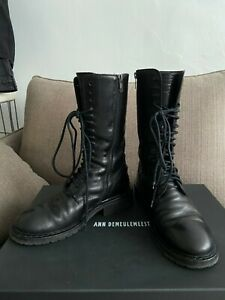Ann Demeulemeester Black Lace up Boots Size 38