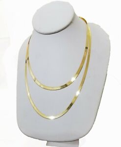 """Solid 10k Yellow Gold Herringbone Necklace 18""""-24"""" Inch 3mm 4mm REAL 10kt Chain"""