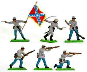 Britains Deetail C.S.A. Infantry - 6 in 6 poses - # 7440 ex-mint condition
