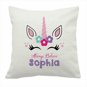 Personalised Unicorn Pillow With Name Cute Linen Cushion Cover For Kids Bedroom