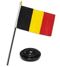 "Belgium 4""x6"" Flag Desk Set Table Stick Black Base"