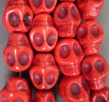 10Pcs Red Howlite Turquoise Skull Beads Finding---18mmx14mm