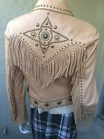 Cripple Creek Beige Western Fringed Studded Embellished Leather Jacket S Small