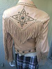 Cripple Creek Beige Western Fringed Studded Embellished Leather Jacket S Small