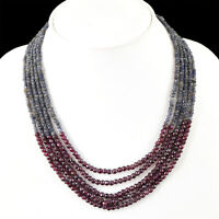 225.00 CTS NATURAL 5 LINE RICH BLUE TANZANITE & GARNET FACETED BEADS NECKLACE