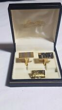 Stratton of London Cufflinks Boxed 22ct Gold Plated Straight Chiseled Design