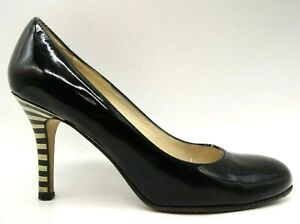 Kate Spade Black Patent Leather Striped Heel Dress Pumps Shoes Women's 5 B