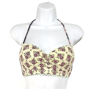 Victoria's Secret Bikini Top Padded Patterned Sz 32B Tie Neck with Tassels Swim
