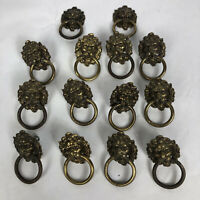 Lot of 14 Vintage Brass Lionhead Ring Drawer Pulls KBC1 H377 Knobs