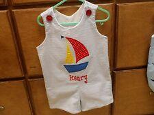 Sailboat Boys Jon Jon Romper Handmade Personalized Sizes 6 months-3T