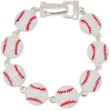 NEW Silvertone White & Red Enamel Baseball Link Bracelet with Magnetic Clasp