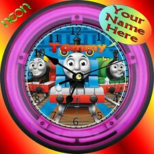 PERSONALIZED THOMAS-THE-TANK NEON-LIGHTED WALL CLOCK (pink)
