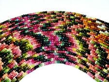 3-4 MM. NATURAL MULTI TOURMALINE FACETED RONDELLE BEADS GEMSTONE 13 INCH STRAND