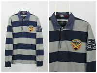 Mens Vintage Jean Paul Shirt Rugby Long Sleeve Striped Grey Size M
