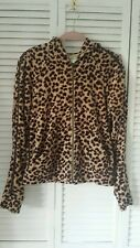 Neiman Marcus size S leopard print & leather zip front hooded top
