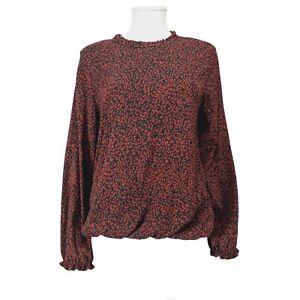 NEW M&Co Black Red Pattern Long Sleeve Top Blouse UK 14 Elastic Hem