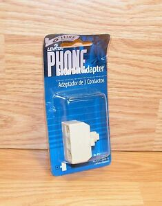 Genuine Leviton Ivory (C2648) 6 Wire 3-Outlet Telephone Adapter Only *NEW-READ*
