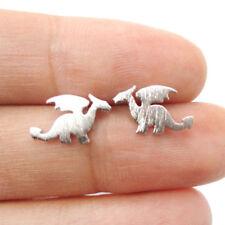 Silver Dragon Stud Earrings Ladies Kids Magical Fantasy Farytale Trendy Fire UK