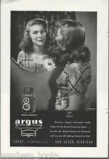 1945 ARGUS camera advertisement, Argus E Argoflex camera, young lady in mirror