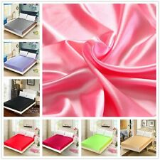 Bedsheet 100%  Satin  Silk  Mattress Cover Set Sabanas King Size  satin Bedsheet