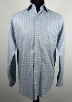 Peter Millar Large Blue Stripe Long Sleeve Button Front Cotton Nanoluxe Easycare