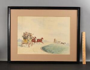 c1900 Antique RICHARD ROSENBAUM Coaching Watercolor Painting, NR
