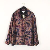 Coldwater Creek NWT 3X Paisley Burnout Jacket Coat Topper Tapestry