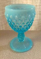 FENTON VINTAGE BEAUTIFUL BLUE OPALESCENT HOBNAIL WINE GOBLET IN MINT CONDITION