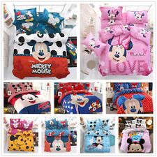 Cartoon Disney Mickey Minnie Mouse Bedding Set Comforter Cover Sheet Pillowcases
