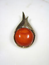 SUPERB VTG BOHEMIAN GOLD WASHED SILVER LARGE NATURAL BUTTERSCOTCH AMBER BROOCH