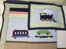Pottery Barn Kids Railway Trains Locomotive Full quilt With Matching Sham Blue