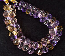 """PH-017 Ametrine Side Drill Drops Faceted Gems Beads 7.5x10mn - 8x12mm 242Ct 8.5"""""""