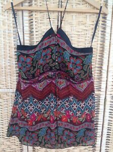 NEW LOOK Boho Halterneck Festival Top Small Bells On Front Floral Paisley UK 12