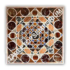 """36"""" White Marble Dining Center Table Top Multi Inlay Handmade Garden Decor E1044"""