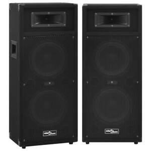 vidaXL 2x Professional Passive Hifi Stage Speakers 1000 W Black Club Party