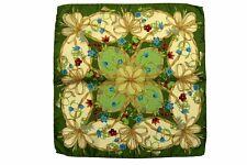Battisti Pocket Square Leaf green with beige floral pattern, pure silk