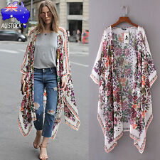 Bohemian AU Women Floral Print Chiffon Kimono Cardigan Top Cover up Shirt Blouse