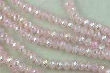 """16"""" Str. 8mm Chinese Crystal Glass Beads Faceted Rondelle Rose Quartz AB"""